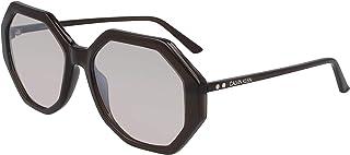 نظارة شمسية للنساء من كالفن كلاين، لون فضي، 55 ملم، CK19502S