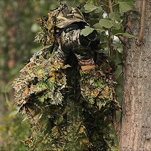 Uniform Tarnung Kleidung, Leaf Hooded 3D Bionic Training Militär Sniper Cloak Camouflage Kleidung