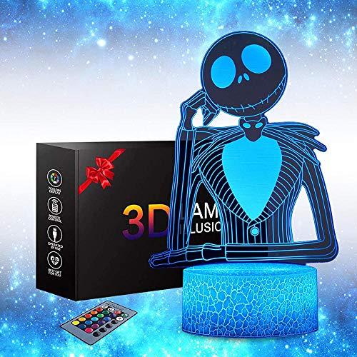 Luz nocturna 3D para niños, lámpara de ilusión 3D lámpara de mesita de noche de Halloween, calabaza, rey Jack Skellington, 16 cambio de color, lámpara de decoración de Navidad y regalos de cumpleaños