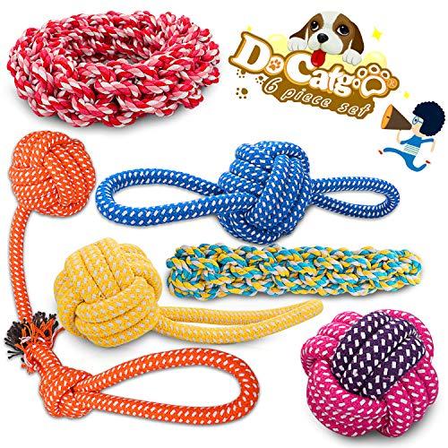 Docatgo Hundespielzeug Set zubehör,Hundeseile,Denkspielzeug, Suchspielzeug,interaktives Beschäftigung Spielzeug Spielsachen, Strategiespiel,Pet Dog Toy, kleine und mittelgroße Hunde (6 Stücks)