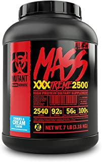 Mutant Mass XXXtreme Gainer – Whey Protein Powder – Build Muscle Size and Strength – High Density Clean Calories – 7 lbs – Cookies & Cream