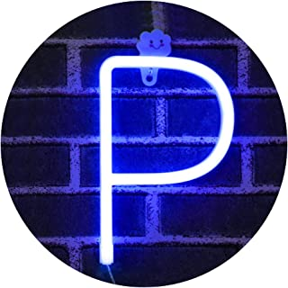LED Light Up Marquee Signs Neon Lights, Neon Signs Night Lights Letter Lamp for Wall Decor, Christmas, Birthday Party, Home Decorations -blue Letter P