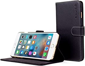 Snugg iPhone 6 Plus and 6S Plus Case, Black Leather Flip Case [Card Slots] Executive Apple iPhone 6 Plus and 6S Plus Wallet Case Cover and Stand - Legacy Series