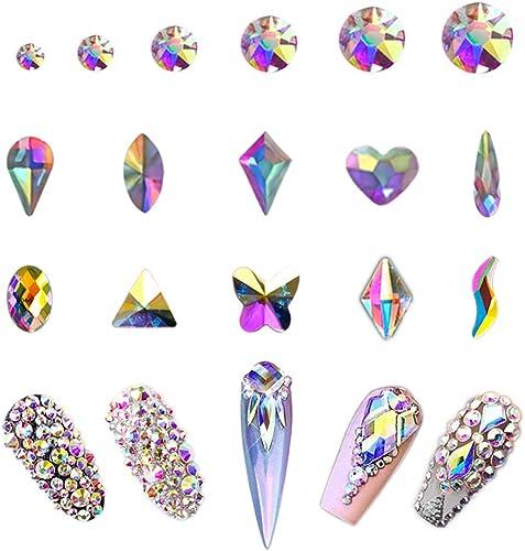 AB Crystal Rhinestones Set 100+1728 Pcs, Round and Multishape AB Glass Rhinestone, Flatback AB Crystals for Nails Clo...