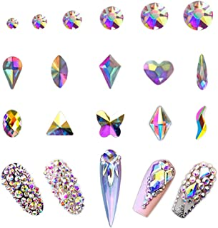AB Crystal Rhinestones Set 1680 plus 100 Pieces, Round and Multishape AB Glass Rhinestone, Flatback AB Crystals for Nails Clothes Face Jewelry