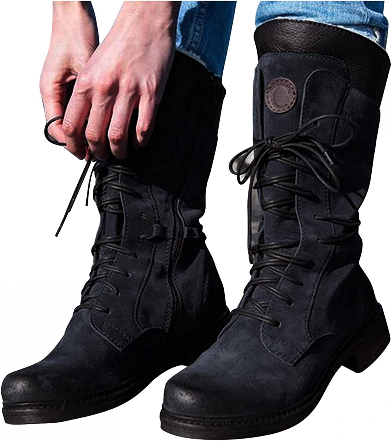 Hbeylia Women's Combat Boots Fashion Punk Anti Slip Chunky Block Low Heels Lace Up Mid Calf Boots Leather Suede Splicing Round Toe Cowboy Motorcycle Riding Boots For Women Girls
