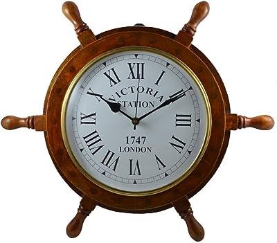 Wooden Ship Wheel Clock Decor Colour Wheel Wall Clock 12'' (Size: 24'' x 2'' x 24'')