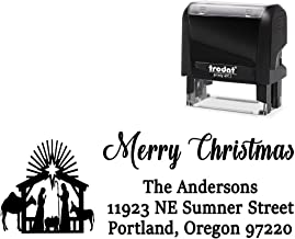 Custom Christmas Rubber Stamp. Return Address. with Nativity Scene Image - Large 4 Lines. Change All Wording + Choose Ink Color.