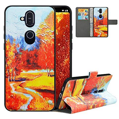 LFDZ Handyhülle für Nokia 8.1 Hülle,Premium 2 in 1 Abnehmbare PU Ledertasche für Nokia 7.1 Plus Hülle,RFID-Blocker Flip Hülle Tasche Etui Schutzhülle für Nokia 8.1 Hülle/Nokia X7 Hülle 2018,Autumn