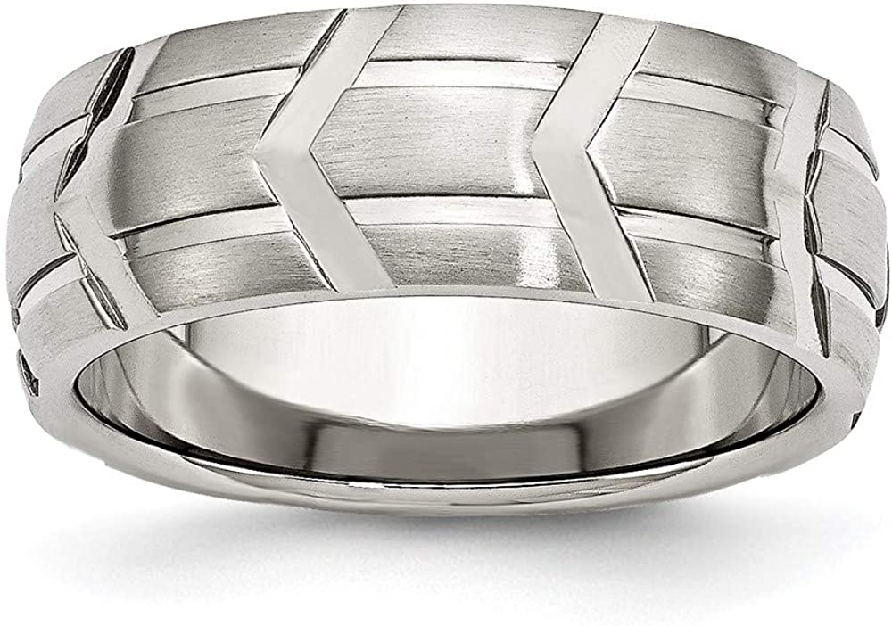 ICE CARATS Stainless Steel Brushed 8mm Grooved Wedding Ring Band Fashion Jewelry for Women Gifts for Her