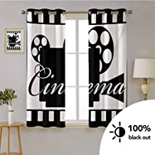 HouseLook Movie Theater -Thermal Insulated Curtain Grommet Top Monochrome Cinema Projector Inside a Strip Frame Abstract Geometric Pattern -Drapes Panel for Living Room W72 x L63 Inch Black White