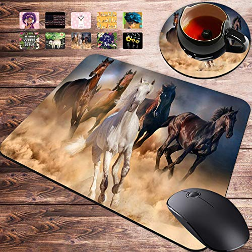 Gaming Mouse Pad and Coasters Set, Wild Horses Mousepad, Non-Slip Rubber Rectangle Mouse Pad, Customized Mouse Mat for Working and Gaming