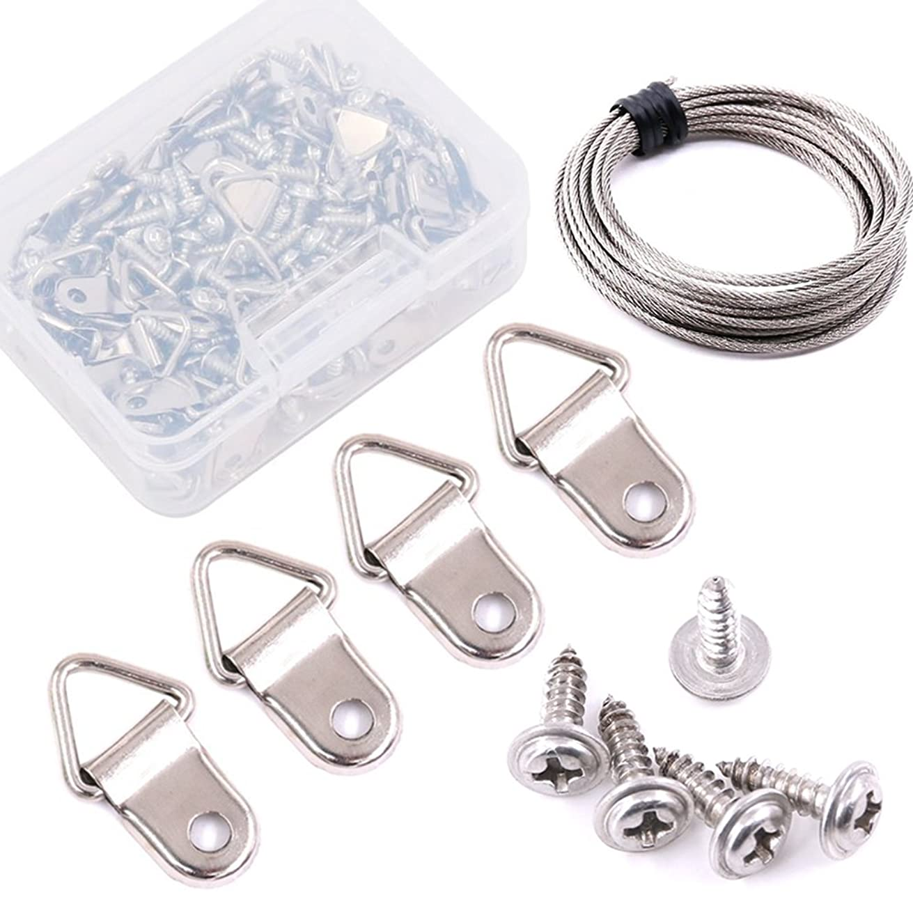 Swpeet 110 Pack Triangle Ring Picture Hangers with Picture Hanging Wire, Nail Non-Trace Frame Hangers with Screws for Home Decoration