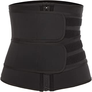 Vaslanda Neoprene Sauna Waist Trainer Trimmer, Workout Weight Loss Belt, High Compression Sweat Body Shaper with Zipper Black-3 L