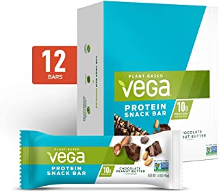 Vega Protein Snack Bar, Chocolate Peanut Butter - Vegan Protein Bars, Plant Based, Vegetarian, Dairy Free, Gluten Free, So...