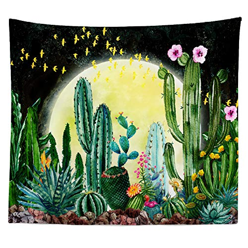 """iLiveX Tapestry, Original Design Hand Drawing Art Print Tapestry Wall Hanging, Moon Cactus Sunset Tapestries (51.2""""x59.1"""")"""