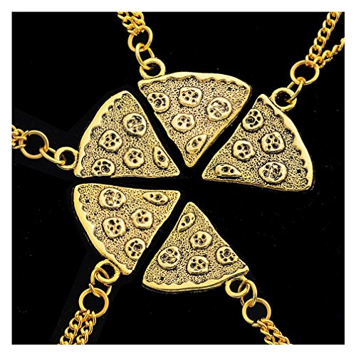 MJARTORIA Necklace Pendants Friendship Chains for 4 People Girls or Boys Antique Gold Color Pizza Necklace Gift Chain (Gold-5 pcs)