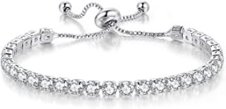 LAMOON Tennis Bracelets for Women White Gold Plated Diamond AAA+ Cubic Zirconia CZ Dainty Classic Adjustable Slider Bracel...