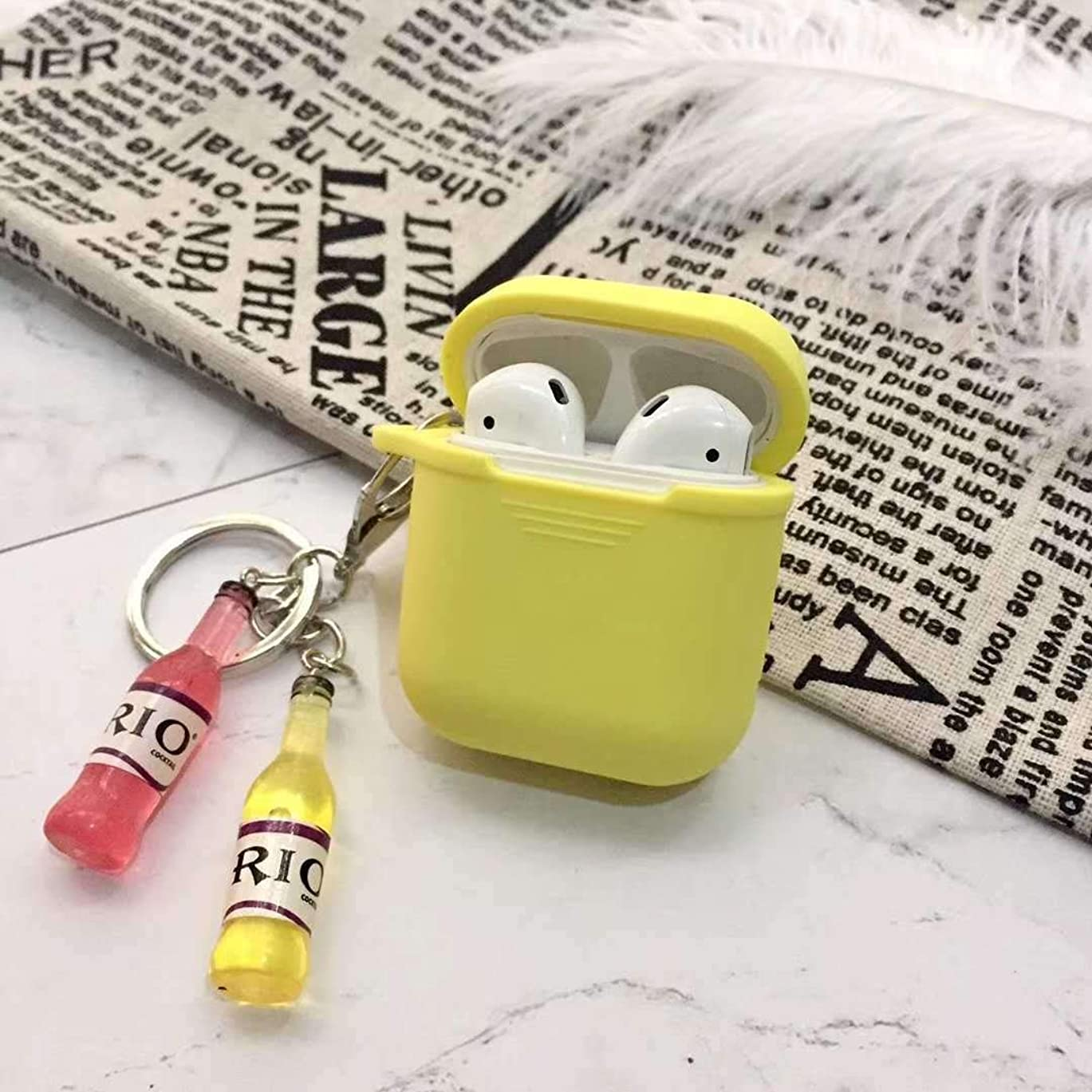スロープ財布幻想的AFAEF HOME 該当するairpods2保護カバーrioボトルインパーソナリティアップルワイヤレスBluetoothヘッドセットボックスシリコンシェル女性 (Color : Yellow, Size : Airpods)