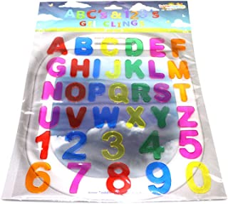 JesPlay ABC & 123 Gel Clings - Full Alphabet Letters and Numbers Window Clings for Kids - 36 Removable and Reusable Educational Gel Decals for Home, Airplane, Classroom, Nursery Decoration