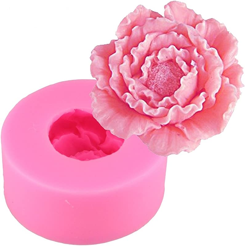 Emousport 3D Silicone Candle Molds Peony Flower Fimo Clay Soap Mold Fondant Chocolate Cake Baking Moulds Cake Decorating Tools