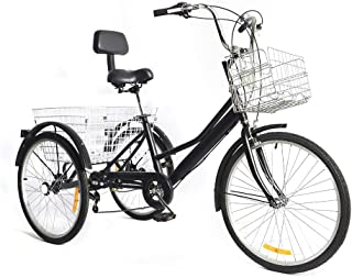 WUPYI2018 Tricycle adulte 24 pouces Tricycle pour adultes avec dossier panier à provisions 3 roues