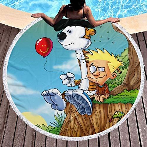 Calvin_and_Hobbes - Toalla de playa de microfibra para adultos, absorción de agua, transpirable, para playa, camping, senderismo y paseos con césped, diámetro redondo de 132 cm