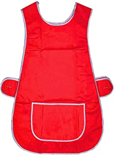 Universal Ladies Women Red Tabard Apron Overall Kitchen Catering Cleaning Bar Pocket