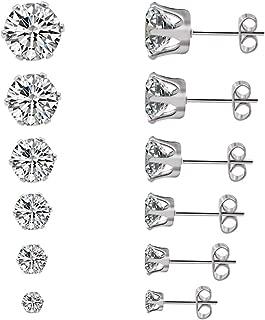 Cubic Zirconia Stud Earrings for Women, Silver Gold Stainless Steel Earrings for Girls Hypoallergenic Nickle Free Earrings for Sensitive Ears Stud Jewelry 6 Pairs