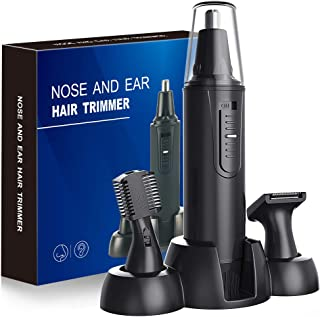 Nose Hair Trimmer-Professional Painless Ear and Nose Hair Trimmer for Men and Women, Waterproof Dual Edge Blades for Easy Cleaning, 3 in 1 Ear Nose Eyebrow and Facial Trimmer(Black)