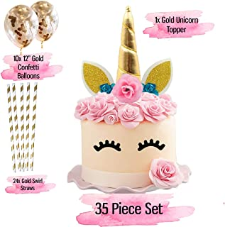 Unicorn Cake Topper with Eyelashes I 35 Piece Pack I 10 x Gold Confetti Balloons I 24 x environmentally friendly Gold Straws. Kids and Children Birthday Party, Baby Showers