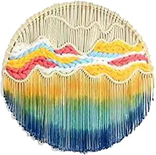 Macrame Wall Hanging Round Tapestry Dip Dyed Circle Hoop Tapestry Handmade for Home Wall Decoration