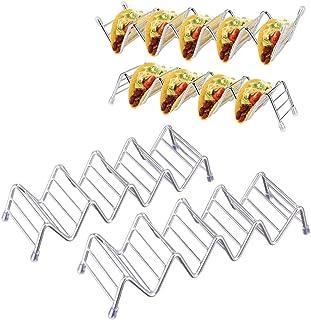 Sykel cirkel Taco Houder, RVS Taco Stand Taco Rack Hold 4 of 5 Harde of Zachte Schelpen Taco Truck Tray Oven Safe voor Bakken