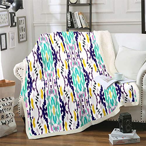 Loussiesd Manta de forro polar estilo bohemio, manta de felpa de rayas tribales para sofá, decoración de habitación, ligera, colorida y abstracta, manta doble de 152 x 200 cm