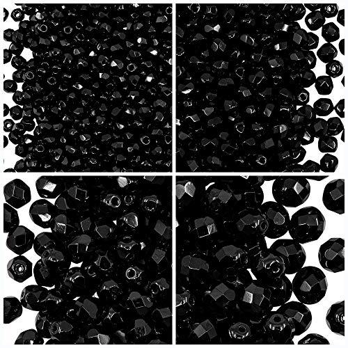 Tschechische Fire-Polished Glasperlen Rund 3mm, 4mm, 6mm, 8mm, Jet Black. Insgesamt 275 Stück. Set 1CFP 002 (3FP001 4FP001 6FP001 8FP001)