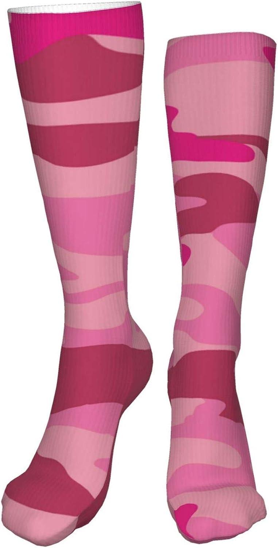 Pink-Camouflage Women Premium High Socks, Stocking High Leg Warmer Sockings Crew Sock For Daily And Work