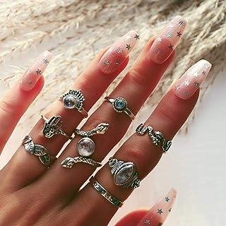 Aukmla de la vendimia suena el nudillo de Plata apilable anillos de dedo de la joyería de la serpiente tallada en forma de Porro anillos del nudillo de la mano accesorios para mujeres y niñas 8PCS