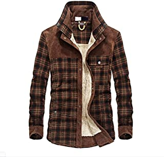 Loosnow Men Jackets Winter Warm Shirt Long Sleeve Thicken Plaid Pattern Casual Shirt for Outdoor