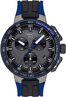 ساعة يد من تيسو للرجال موديل T1114173744106 - تي ريس هيكل من الستانلس ستيل مع سوار من السيلكون - أزرق، 18 موديل T114173744106