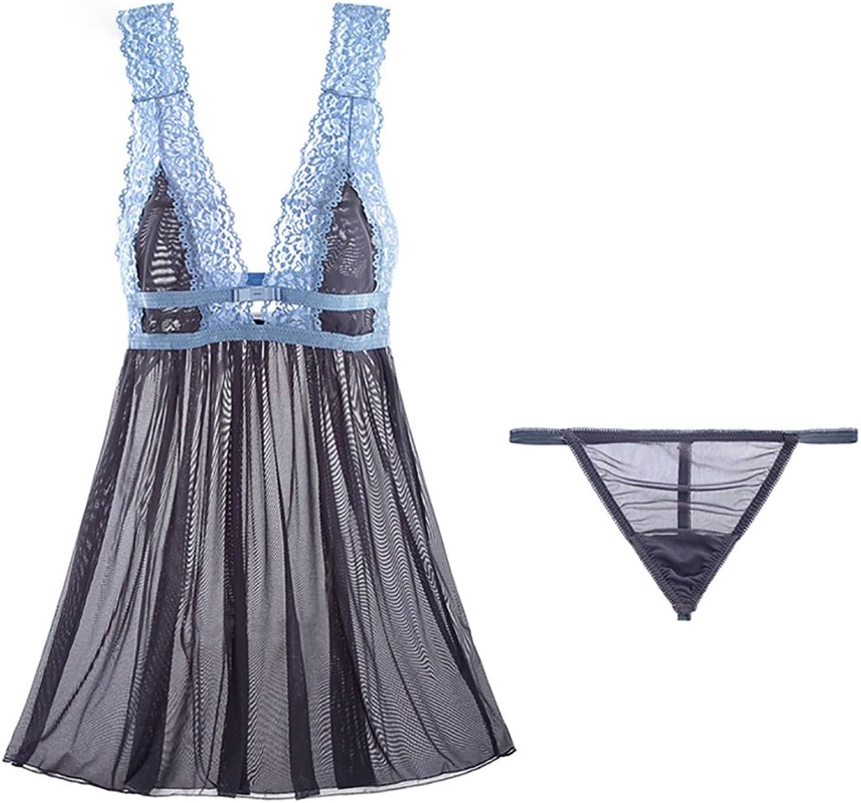 Sexy Pajamas Summer Lace Transparent Skirt Temptation short Skirt ( color   bluee , Size   M )