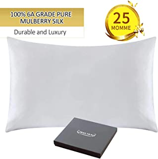 ZIMASILK 25 Momme 100% Mulberry Silk Pillowcase for Hair and Skin,Both Sides Natural Silk,Hidden Zipper Closure,1 Pc Gift Box(Ivory, Standard 20''x26'')