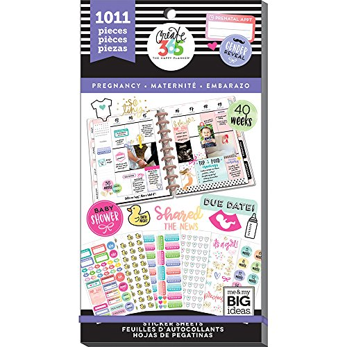 me & my BIG ideas Sticker Value Pack for Classic Planner - The Happy Planner Scrapbooking Supplies - Pregnancy Theme - Multi-Color & Gold Foil - Great for Projects & Albums - 30 Sheets, 1011 Stickers
