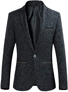 YOUTHUP Mens Wool Blazer Slim Fit Short Type Tweed Suit Jacket 1 Button Chic Outwear Jackets Black