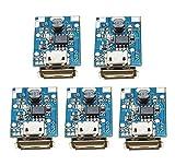 ICQUANZX 5PCS 5V 1A Boost Step Up Módulo de Fuente de alimentación Tablero de protección de Carga de batería de Litio 134N3P Cargador DIY Pantalla LED USB y Puerto Micro