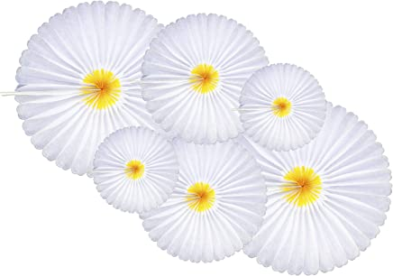 6-Piece Daisy Flower Theme Decorations Tissue Paper Fan Party Supplies perfect for Classroom Baby