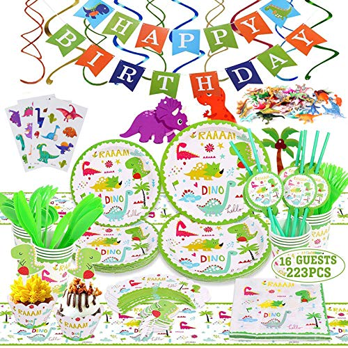 223 PCS 16 Gäste Dinosaurier Geburtstag Party Supplies Set, Dinosaurier Party Favors gehören Teller, Tassen, Servietten, Besteck, Cupcake Topper, Banner, Tischdecke, Strudel & Dino Spielzeug.