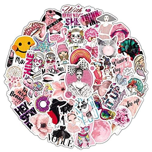 Rosa mezcla y partido de dibujos animados niños juguete mixto pegatina scooter bicicleta móvil portátil viaje bolsa divertido Doodle 50 unids