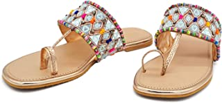 Latest Collection Girl's Slip on Embroidered Ethnic Flat Sandals (Sultan, numeric_5) UK Size 5