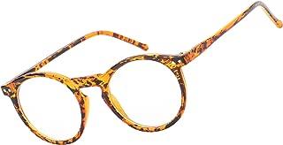 Beison Horn Rimmed Round Eyeglasses Frame Plain Glasses Clear Lens
