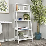 Walker Edison 4 Shelf Simple Modern Wood Ladder BookcaseTall Bookshelf Storage Home Office White55 Inch